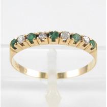 Esfinge Jóias- Meia Aliança Esmeralda Diamante Aro15 Ouro18k