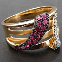 Anel Rubi E Diamante Em Ouro Amarelo 18k