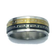 Anel Aço Inox Black Dourado Duplo Giratório Chave Grega 8 Mm