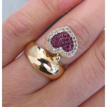 Anel Berloque Coração Ouro 18k Com Diamantes Rubis E Safiras