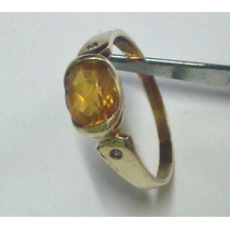 An02 Lindo Anel Ouro 18k750 Com Safira Amarela - Certificado