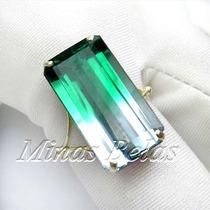 Luxuoso Anel Ouro Natural Praziolita Ametista Verde Bicolor