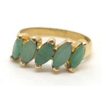 Joalheriavip Meia Aliança De Esmeraldas Em Ouro 18k