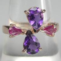 Rubi, Ametista E Ouro Rosé 14k-lindo Anel Em Prata 925