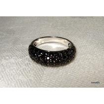 Lindo Anel Pave De Diamantes Negros Ouro 18k