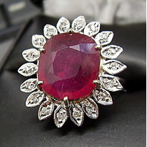 Grandioso ***anel***rubi E Diamantes Em Ouro Branco