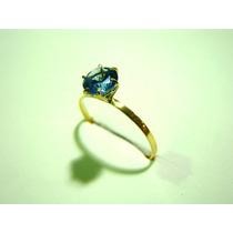 Anel Pedra Azul Água Marinha Joia Ouro 18k C/ Certificado