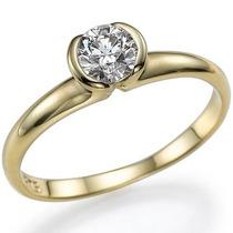 Solitário Com Diamante De 35 Pontos Em Ouro Amarelo 18k!!
