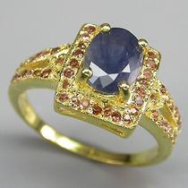 Anel Safira E Granada Natural Ouro14 Plated Prata 925
