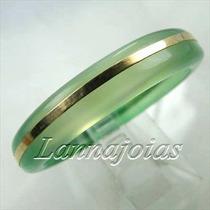 Anel Aliança Ouro 18k Pedra Ágata Verde Esmeralda +frete Gra