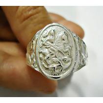 Anel São Jorge Em Prata 950 * Frete Grátis*