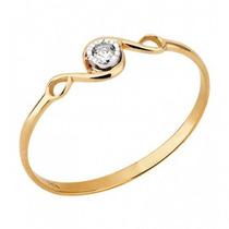 Anel Aro Vazado Lefine Ouro 18k E Diamante Frete Grátis