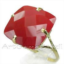 Anel Ouro 18klts Pedra Coral Vermelha Frete Grátis