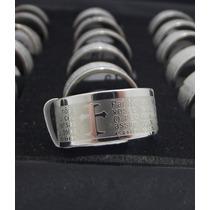 Anel Oração Pai Nosso Anatômico Aço Inox Maciço 9mm Prata