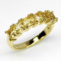Anel Em Prata .925 Com Citrinos Naturais Com Banho Em Ouro