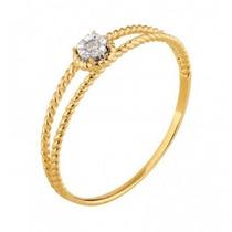 Anel 2 Aros Torcidos Ouro 18k Diamante Frete Grátis Lefine