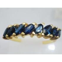 Boqueiraojoias Anel Meia Aliança Ouro 18k Com 8 Safira Azul