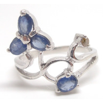 Joalheriavip Anel Flor Safiras E Diamante Natural Prata 925