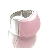 Imponente Anel Com Pedra Cristal Rosa Em Prata 925 - G330