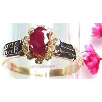 Anel Grau/formatura Ouro 18k, Rubi Natural Diamantes Direito