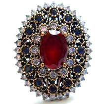 Promoção-cbr-anel Turquia-turco Prata925-quartzo Rubi-safira