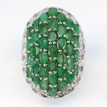Anel Maxi Em Prata 925 Com Pedras De Esmeraldas E Topázios