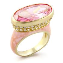 Anel Luxo Rosa Turmalina Esmaltado Folheado A Ouro 18k