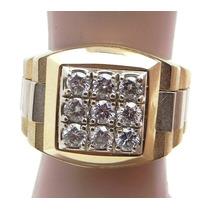 Anel Maculino Em Ouro Amarelo E Branco18k !!! E Diamantes !!