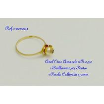 Anel Ouro Amarelo18k 0,750 - Perola E Brilhante-frete Gratis