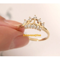 Anel Coroa Em Ouro Amarelo 18k! E Brilhantes