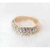 Anel Cristal Austriaco Aro 15 Banhado Em Ouro Rose J1562f