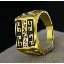Anel Masculino Aro 22 Banhado Ouro 18k Enamel Negro - J1636b