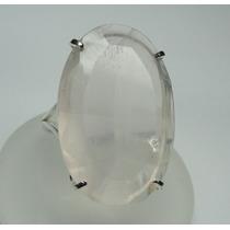 Anel Prata 950 C/ Quartzo Rosa Oval Detalhes Laterais