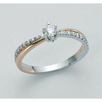 Solitário Com Diamantes Ouro Branco E Rosê18k!!linda Jóia!