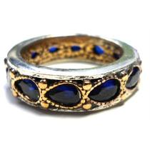 Cuz-anel Aliança Turquia Turco Prata 925 Safira Bizantino