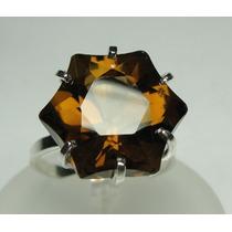 Anel Cristal Fume Lapidação Estrela Lindo Prata 950