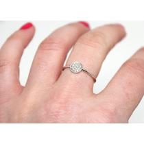 Anel Com Diamantes Ouro Branco18k/750,frete Grátis!