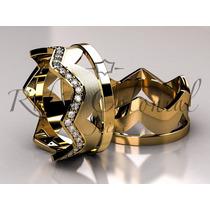 Aliança Para Sempre Majestade Ouro 18k. Diamantes.coroa