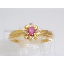 Boqueiraojoias Anel Feminino 4 Diamantes 1 Rubi Ouro 18k-750