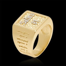 Anelcom Salmo 91 Alto Relevo Em Prata Com Banho De Ouro