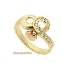 Anel Berloque Ouro Amarelo E Rosé 18k !!! E Diamantes !!