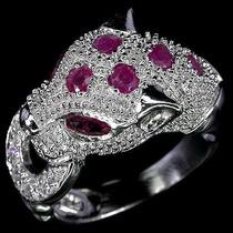 Rubi Africano, Zircônia-anel Pantera De Prata 925- Fr Grátis