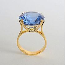 Anel De Ouro 18k Com Topázio Natural Swiss Blue Natural 1902