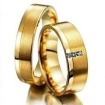 Par Aliança Ouro Branco Brilhantes Anatômica Casamento