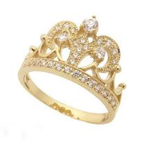 Anel Coroa Ouro Amarelo 18k !!! E Diamantes !!