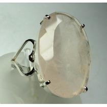 Anel Prata 950 C/ Quartzo Rosa Oval C100