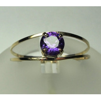 Anel Solitário Ouro 18k Roxo Ametista Lapidação Diamante