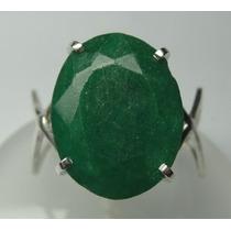 Anel Esmeralda Natural Lapidação Oval Em Prata 950