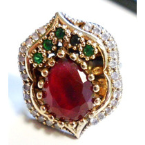 Dgv-anel Turquia Turco Prata 925 Rubi Esmeralda Topazio Bran