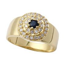 Anel De Formatura Ouro 18k Com Safira Diamantes Jr Joalheiro